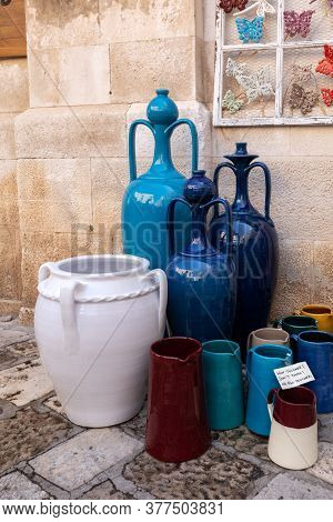 Polignano A Mare, Italy - September 17, 2019: Hand-painted Colorful Traditional Ceramics At A Shop D