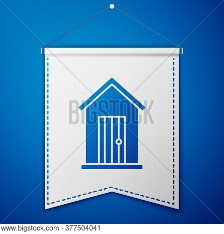 Blue Farm House Icon Isolated On Blue Background. White Pennant Template. Vector Illustration