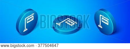 Isometric Hanging Sign With Text Rent Icon Isolated On Blue Background. Signboard With Text For Rent