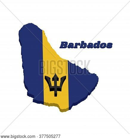 3d Map Outline And Flag Of Barbados, A Vertical Triband Of Ultramarine (hoist-side And Fly-side) And