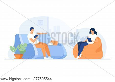 Young Couple Reading Books In Living Room Isolated Flat Vector Illustration. Cartoon Happy Woman And