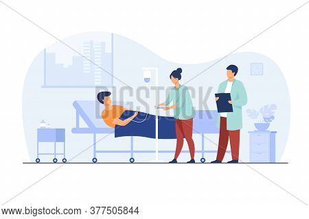 Patient Lying In Bed During Intensive Therapy Isolated Flat Vector Illustration. Cartoon Doctor With