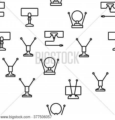 Hdtv Antenna Device Vector Seamless Pattern Thin Line Illustration