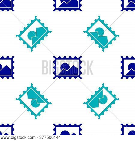 Blue Postal Stamp Icon Isolated Seamless Pattern On White Background. Vector Illustration