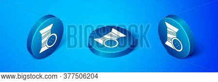 Isometric Sewing Thread On Spool And Button Icon Isolated On Blue Background. Yarn Spool. Thread Bob