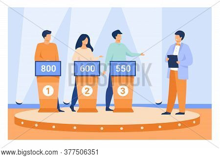 Intelligent Young People Playing Television Quiz With Host Isolated Flat Vector Illustration. Cartoo