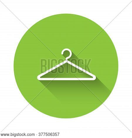White Hanger Wardrobe Icon Isolated With Long Shadow. Cloakroom Icon. Clothes Service Symbol. Laundr