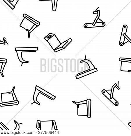Treadmill Sportive Equipment Vector Seamless Pattern Thin Line Illustration