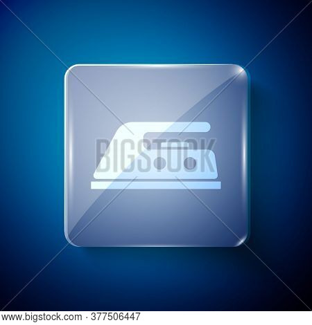 White Electric Iron Icon Isolated On Blue Background. Steam Iron. Square Glass Panels. Vector Illust