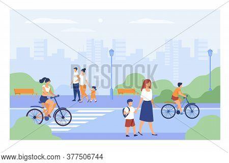 People Walking Along Street In City Park Isolated Flat Vector Illustration. Cartoon Men, Women And K