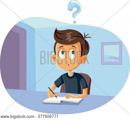School Boy Having Questions Doing Homework Vector Cartoon