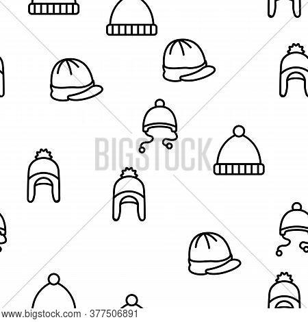 Beanie Seasonal Hat Vector Seamless Pattern Thin Line Illustration