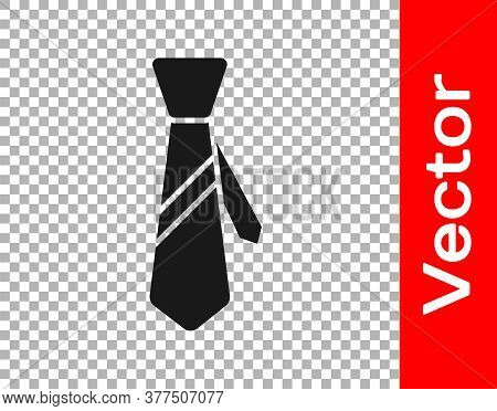 Black Tie Icon Isolated On Transparent Background. Necktie And Neckcloth Symbol. Vector Illustration