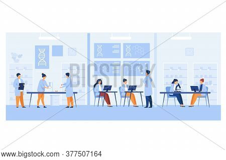 Genetic Engineer Scientists Working In Medical Laboratory Isolated Flat Vector Illustration. Cartoon