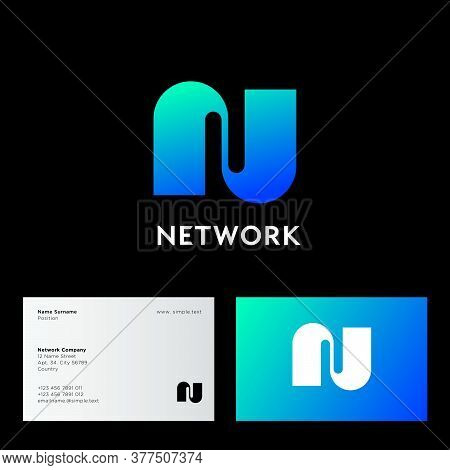 N Monogram. Network Logo. Gradient Linear N Monogram, Isolated On A Contrast Background. Logo Can Be