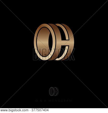O And H Initials As Ring. Blue O And H Monogram. Logo Can Be Used For Wedding Agency, Jewelries, Bij