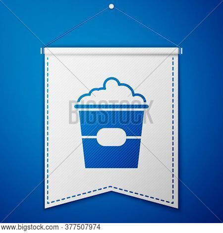 Blue Popcorn In Cardboard Box Icon Isolated On Blue Background. Popcorn Bucket Box. White Pennant Te