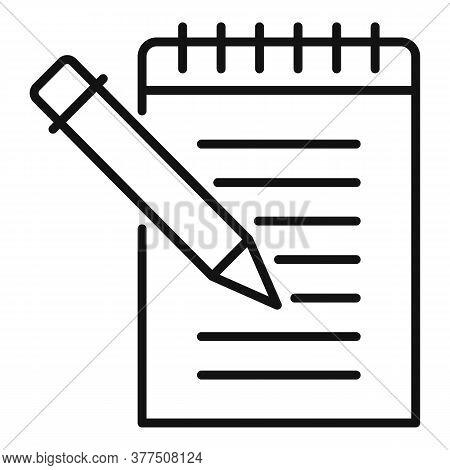Storyteller Notebook Icon. Outline Storyteller Notebook Vector Icon For Web Design Isolated On White