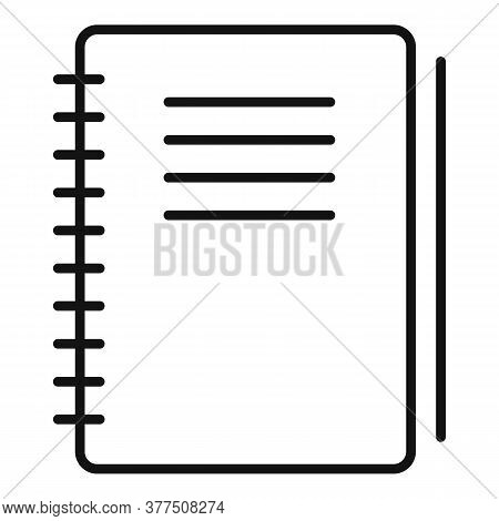 Notebook Idea Article Icon. Outline Notebook Idea Article Vector Icon For Web Design Isolated On Whi