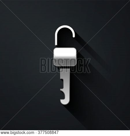 Silver Unlocked Key Icon Isolated On Black Background. Long Shadow Style. Vector Illustration