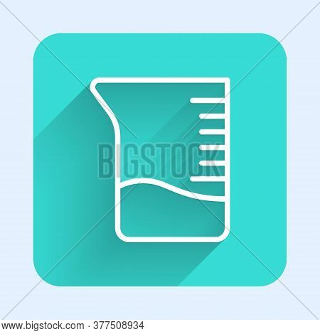 White Line Measuring Cup Icon Isolated With Long Shadow. Plastic Graduated Beaker With Handle. Green