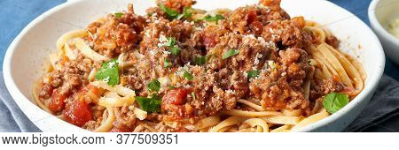 Pasta Bolognese Spaghetti. Long Banner With Fettuccine, Mincemeat And Tomatoes