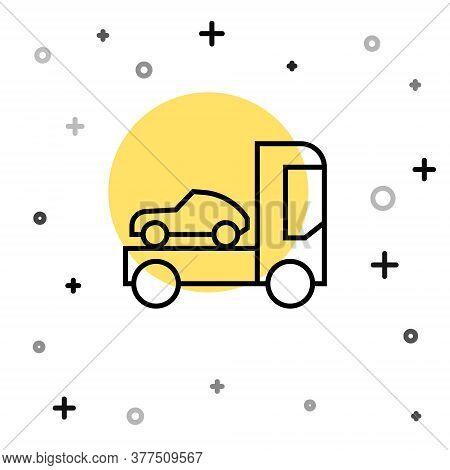 Black Line Car Transporter Truck For Transportation Of Car Icon Isolated On White Background. Random