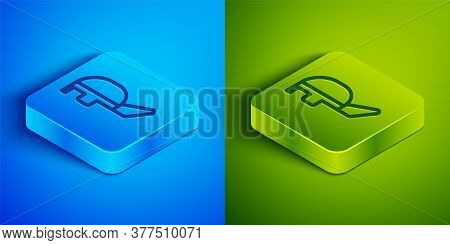 Isometric Line Fencing Helmet Mask Icon Isolated On Blue And Green Background. Traditional Sport Def