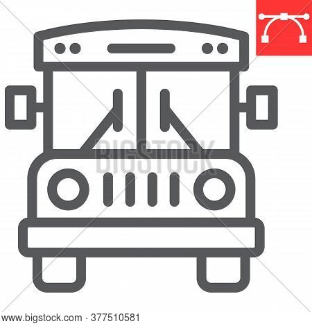 School Bus Line Icon, School And Education, Bus Sign Vector Graphics, Editable Stroke Linear Icon, E