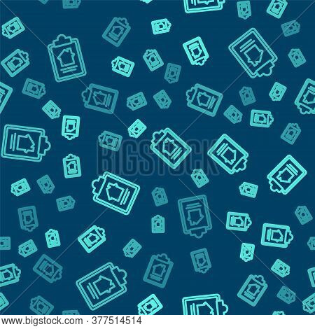 Green Line House Contract Icon Isolated Seamless Pattern On Blue Background. Contract Creation Servi