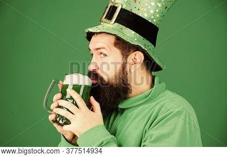 Irish Tradition. Man Brutal Bearded Hipster Drink Beer. Irish Pub. Drinking Beer Part Celebration. B