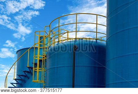 Closeup Fuel Storage Tank In Petroleum Refinery. Blue Big Tank Of Oil Storage. Fuel Silo. Liquid Pet