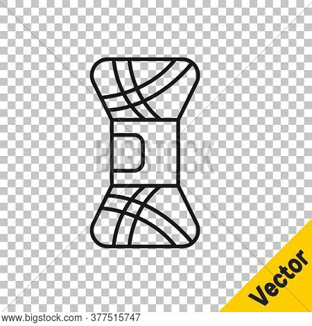 Black Line Yarn Icon Isolated On Transparent Background. Label For Hand Made, Knitting Or Tailor Sho