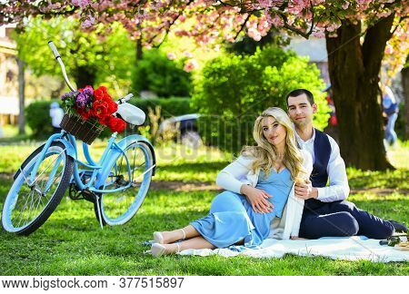 Romantic Picnic. Couple Cuddling On Blanket. Happy Together. Anniversary Concept. My Darling. Idylli