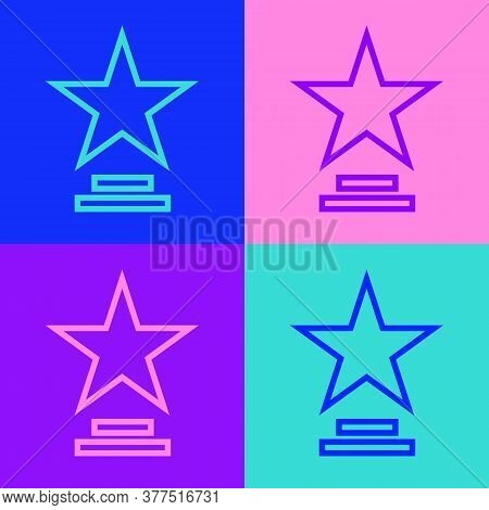 Pop Art Line Movie Trophy Icon Isolated On Color Background. Academy Award Icon. Films And Cinema Sy