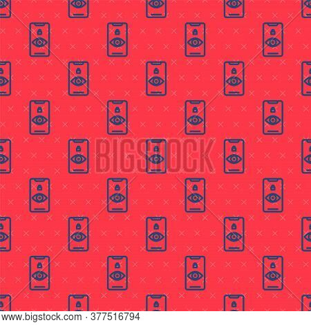 Blue Line Eye Scan Icon Isolated Seamless Pattern On Red Background. Scanning Eye. Security Check Sy