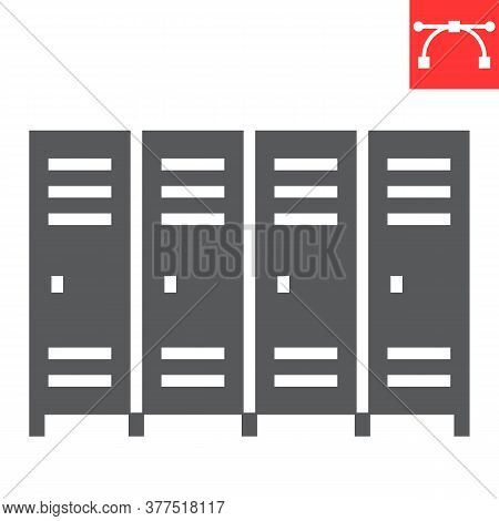 School Lockers Glyph Icon, School And Education, Locker Sign Vector Graphics, Editable Stroke Solid