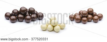 Assorted Chocolates Praline  Confectionery On White Background