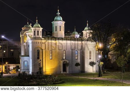 Night View Of Church Of The Ascension (vaznesenjska Crkva), Serbian Orthodox Church In Downtown Belg
