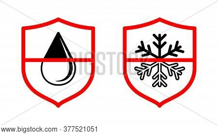 Waterproof And Thermoproof Water And Cold Resist Textile Technology Label Icon For Fabric Membrane M