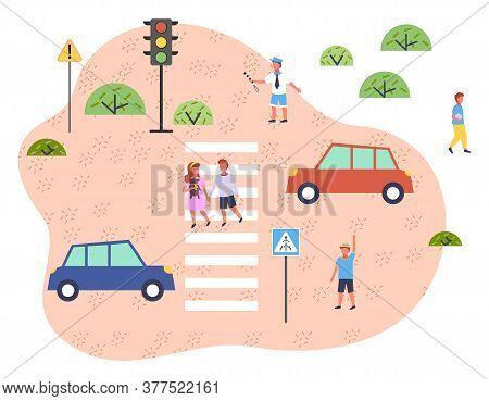 Illustration Of Road Traffic. Traffic Controller Regulates Motion, Children Walk Along Pedestrian Cr