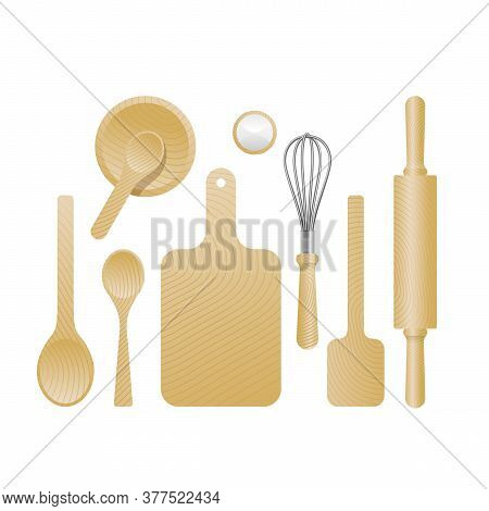 Cook Set - Collection Of Wooden Textured Kitchenware  - Spoon, Ladle, Cutting Board, Rolling Pin. Wh