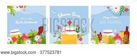 Rosh Hashanah Jewish New Year Holiday Greeting Card Design Set. Greeting Cards With Symbols Of Jewis