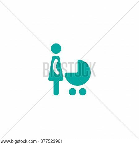 Blue Silhouettes Of Woman With Pram, Baby Stroller Or Baby Carriage.