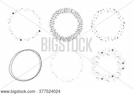 Stardust Circles Set. Round Starry Shapes, Circular Starry Frames, Cosmic Ornament Elements For Mono
