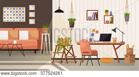 Workplace Room, Modern Bright Interior, Cabinet. Working From Home. Remote Work. Interior Empty No P