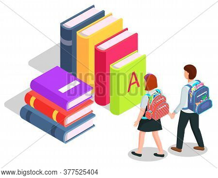 School Children With Backpacks, Books Or Textbooks Pile Isometric Vector. Education And Knowledge, S