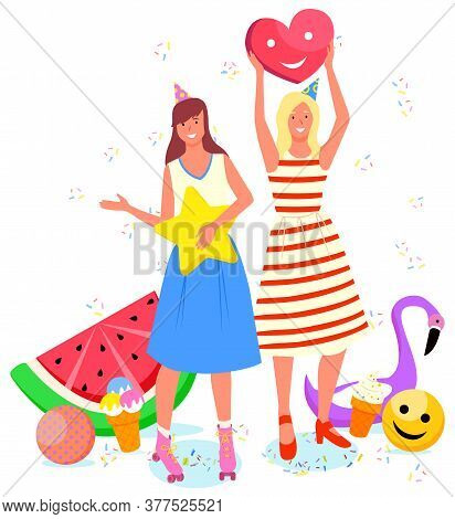 Photozone For People Vector, Isolated Woman Friends Celebrating Birthday And Taking Photo. Flat Styl