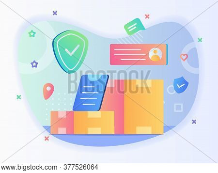 Package Delivery Concept Box Address Location Shield With Flat Style.