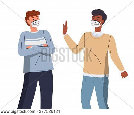 Man In Protective Medical Face Masks. Characters Discussing About The Spread Of Viral Diseases. Peop